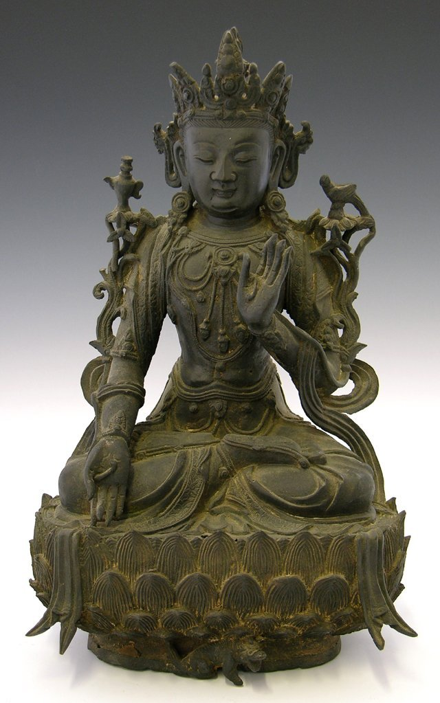775: Bronze Lotus Buddha, 19th c., on a relief base wit
