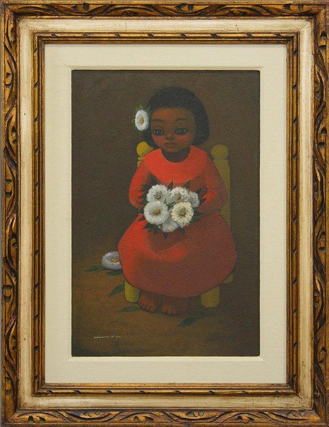 "811: Jose Samano (1942-  ), ""Little Girl with Flowers,"""