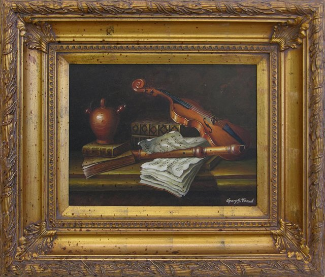 """812: Chinese School, """"Musical Still Life,"""" 20th c., oil"""