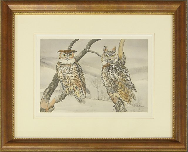 """814: Rex Brasher, """"Pair of Snowy Owls,"""" #365, and """"Pair"""