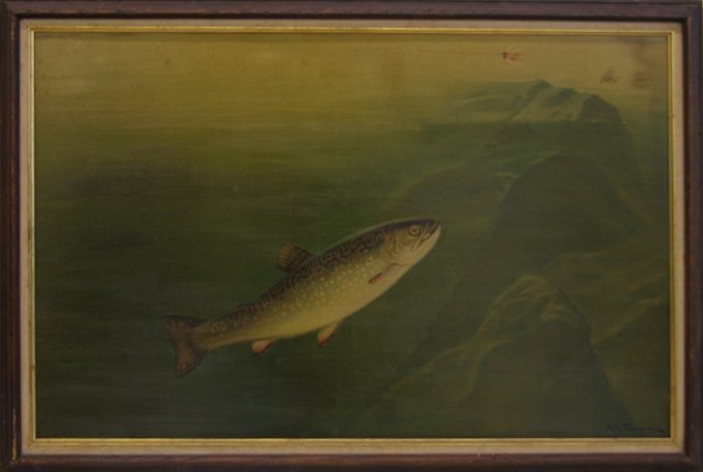 """815: After A. D. Turner, """"Trout After a Fly,"""" early 20t"""