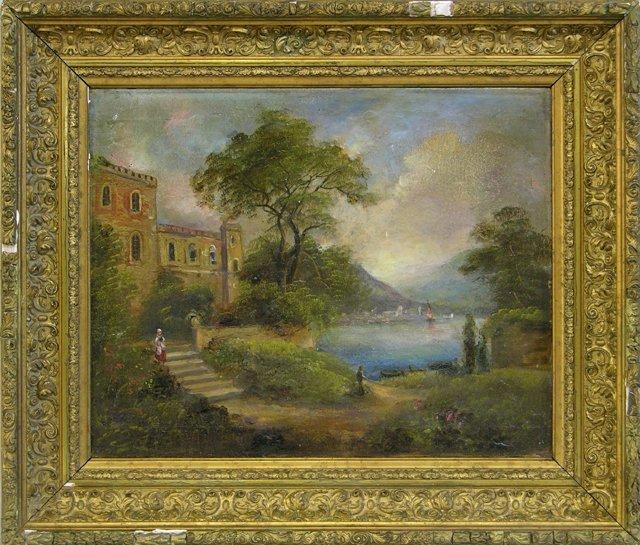 "816: French School, ""Villa by the Lake,"" 19th c., oil o"