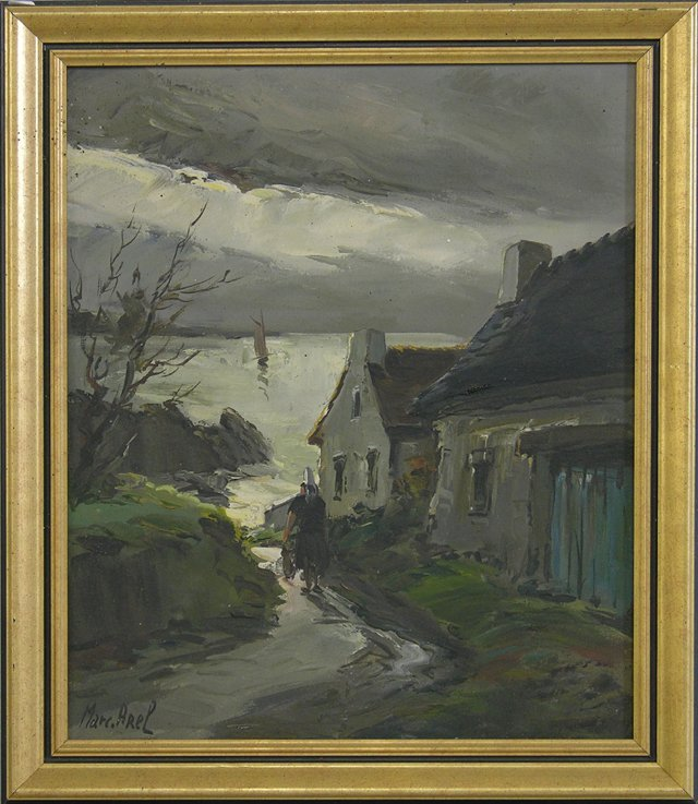 """818: Marc Arel, """"The Road to the Sea,"""" 20th c., oil on"""