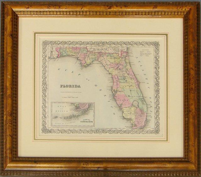 """820: J. H. Colton, """"Map of Florida,"""" 1855, framed, H.-"""