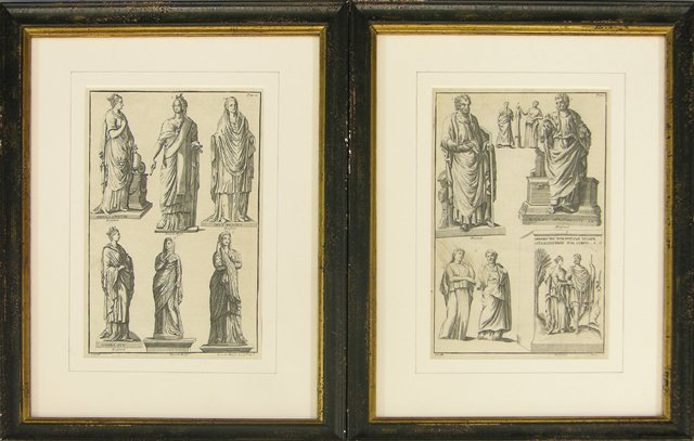 823: Pair of Black and White Engravings of Classical St