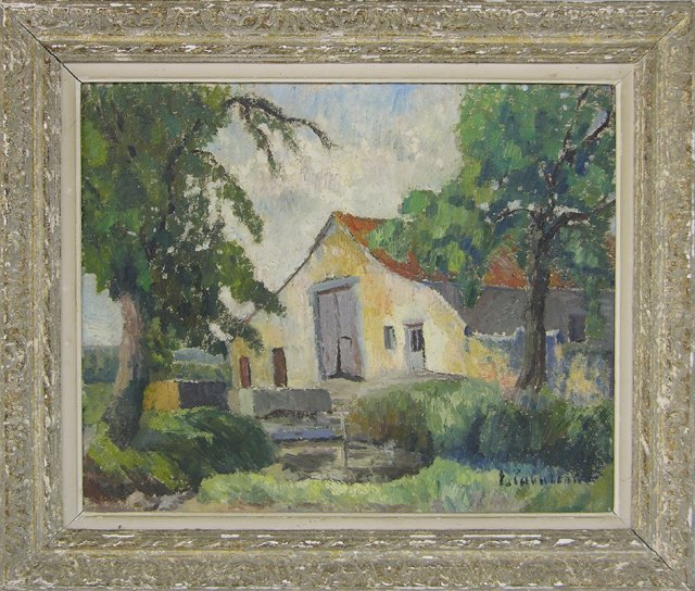 """824: French School, """"The Barn in the Country,"""" 20th c.,"""