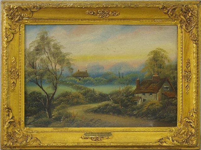 """825: James Roberts, """"A Lane at Stratford,"""" late 19th c."""