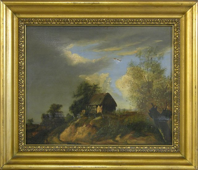"""828: French School, """"Country Landscape Before the Storm"""