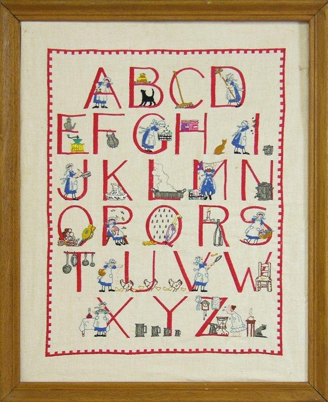 829: French Needlepoint Alphabet Sampler, 20th c., fram