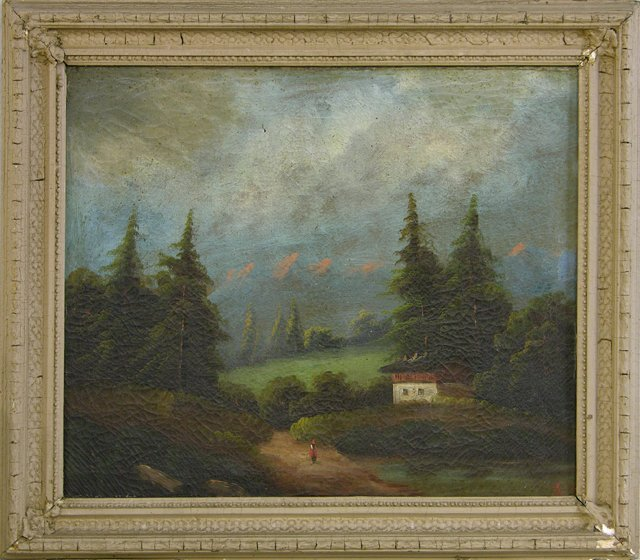 """830: Tinley, """"Mountain Landscape,"""" 19th c., oil on canv"""