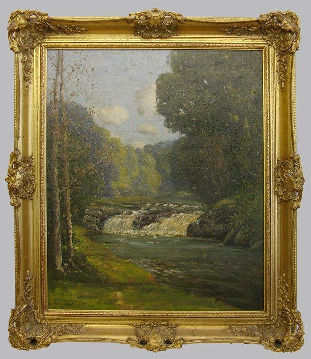 """831: John Watson, """"Waterfall on the River,"""" 19th c., oi"""