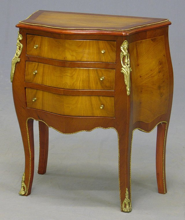 833: Louis XV Style Inlaid Mahogany Ormolu Mounted Bow