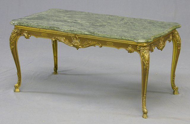 872: Marble and Brass Plated Louis XV Style Coffee Tabl