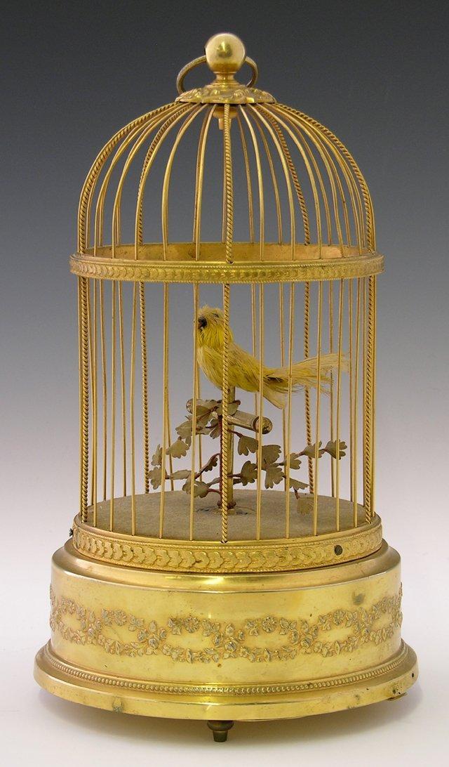 1215: French Brass Feathered Bird Automaton, 20th c., m