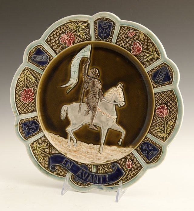 1: Majolica Plaque of Joan of Arc, late 19th c., with a