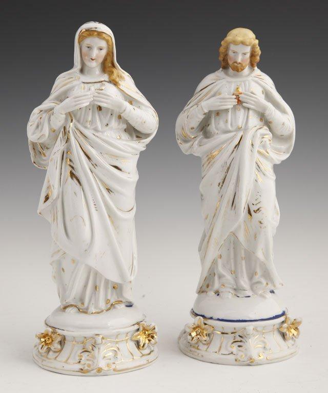 5: Pair of Continental Porcelain Religious Figures, 19t