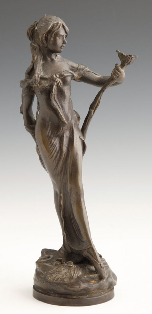 6: Art Nouveau Style Bronze, 20th c., of a lady with a