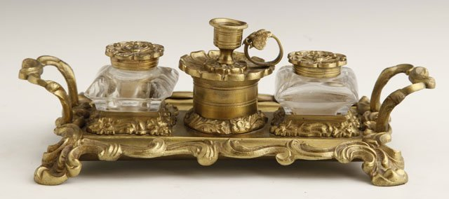 7: William IV Bronze and Cut-Glass Standish in the Roco