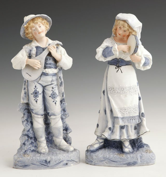 8: Pair of German Polychromed Bisque Figures, late 19th