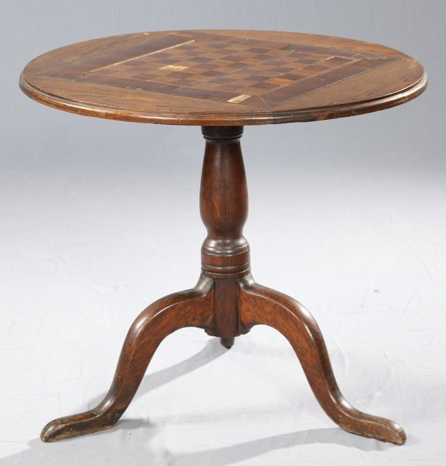 23: English Queen Anne Style Carved Oak Tilt Top Table,