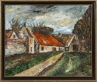 145 French School The Village mid 20th c oil on m