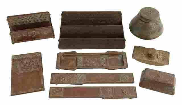 552: Nine Piece Tiffany Bronze Desk Set, early 20th c.,