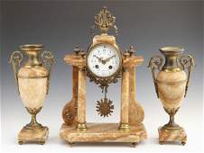 564 Three Piece Bronze and Yellow Marble Clock Set 19