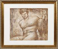 "784: Continental School, ""Seated Male Nude,"" 20th c., o"