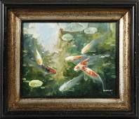 788 Chinese School Koi Fish in the Water 20th c o