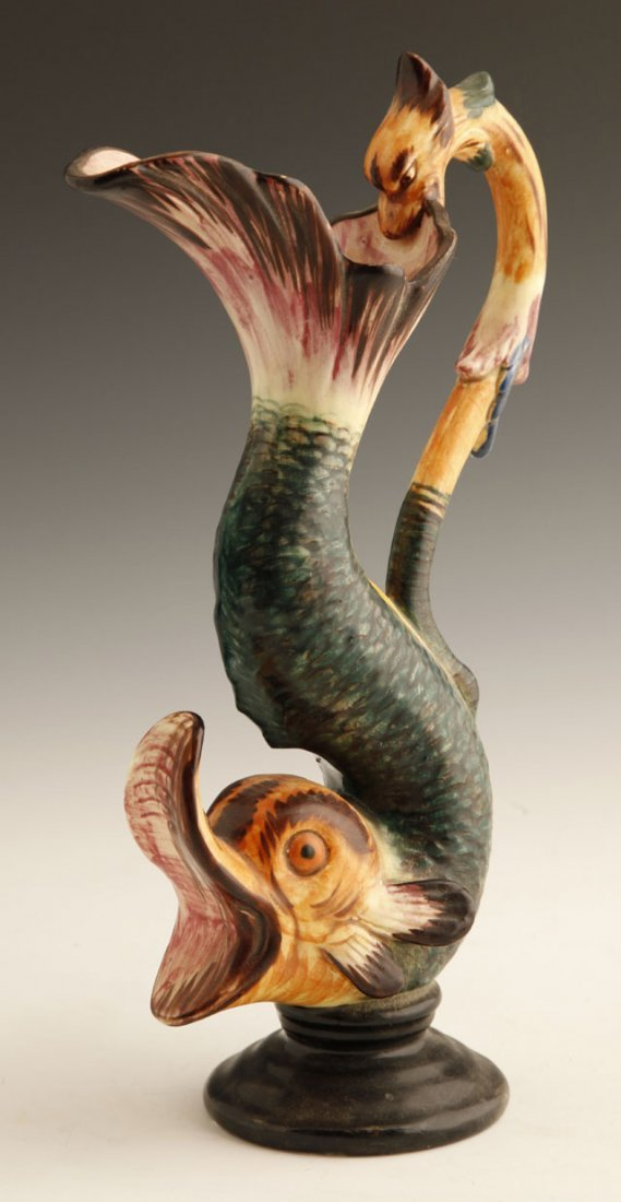 802: Continental Majolica Ewer, 19th c., of fanciful fi