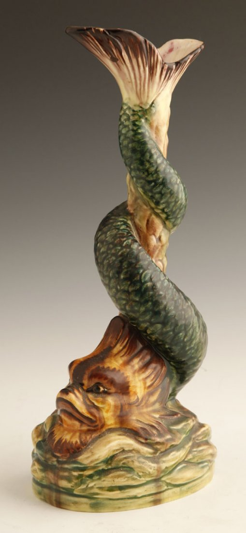 804: Continental Majolica Ewer, 19th c., of fanciful be