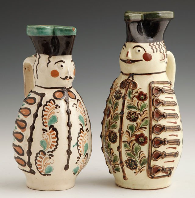808: Pair of Szabo Glazed Figural Pitchers, 20th c., Hu