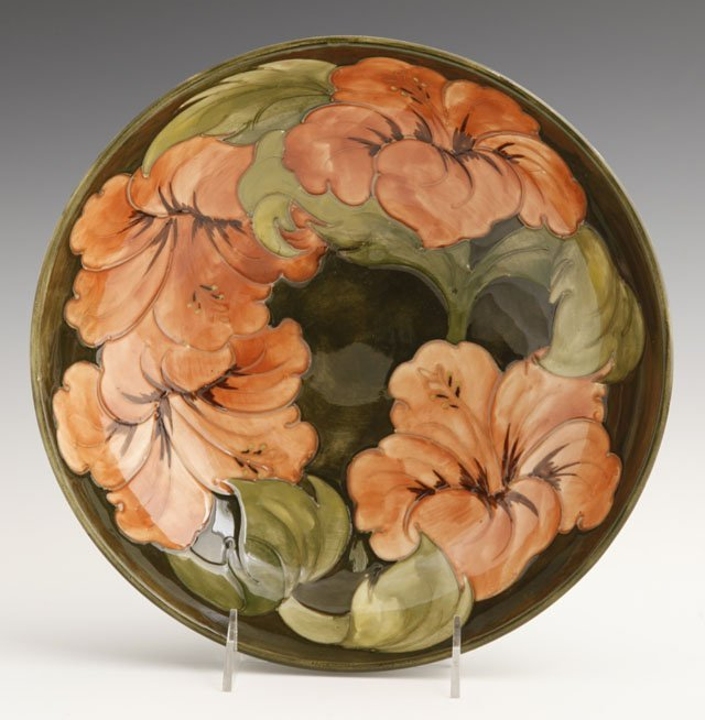 809: Moorcroft Pottery Hibiscus Bowl, ca. 1953-1978, th