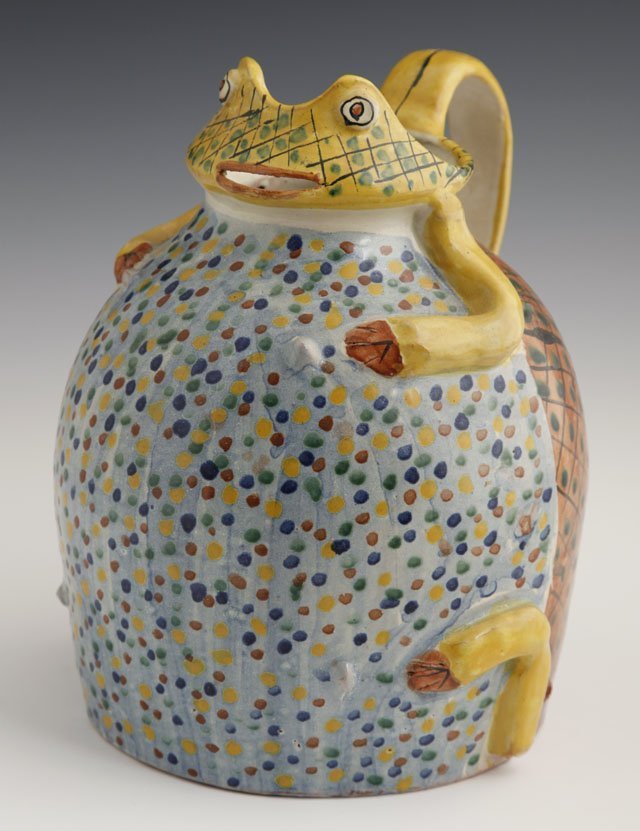 812: Unusual Glazed Relief Decorated Terracotta Frog Pi