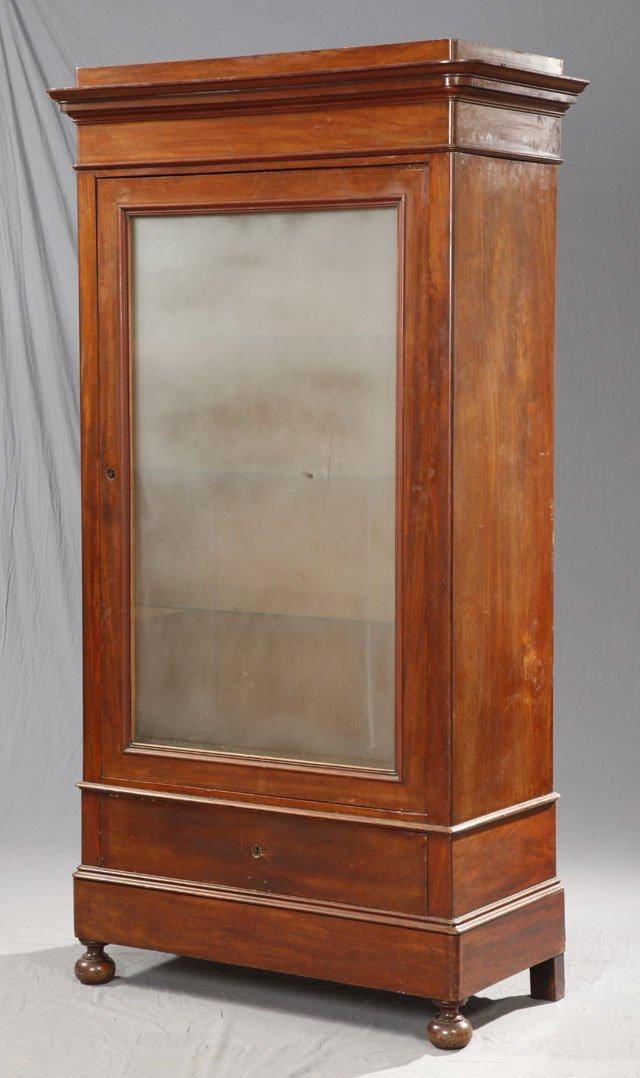 813: French Carved Mahogany Armoire, c. 1890, the stepp