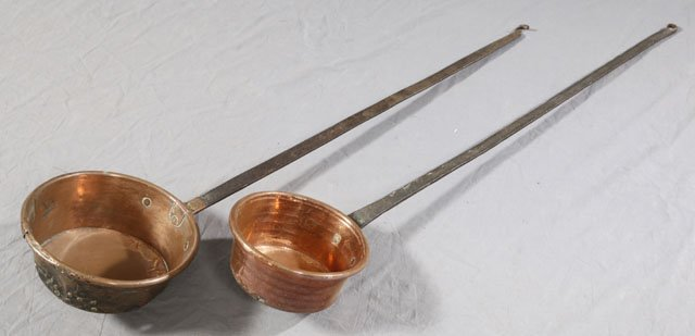 819: Two Large Copper Ladles, 19th c., with long iron h