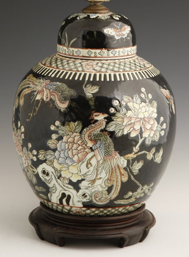 822: Chinese Lidded Ginger Jar, 19th c., with floral, b