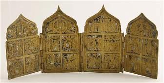 1053 Russian Cast Bronze and Enamel Folding Travel Ico