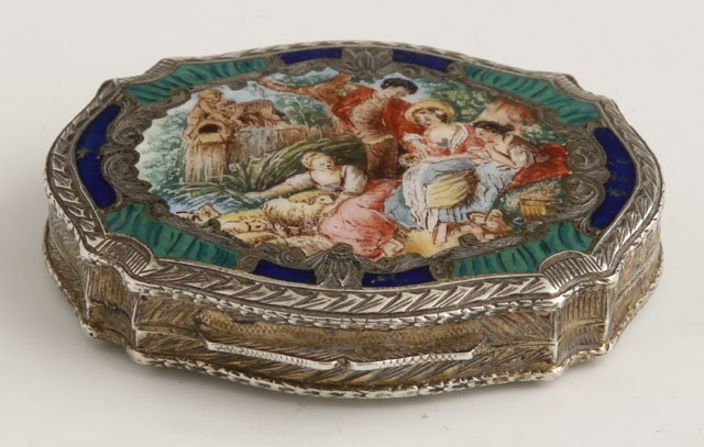 1159: Gilt .800 Silver and Enamel Compact, c. 1900. the