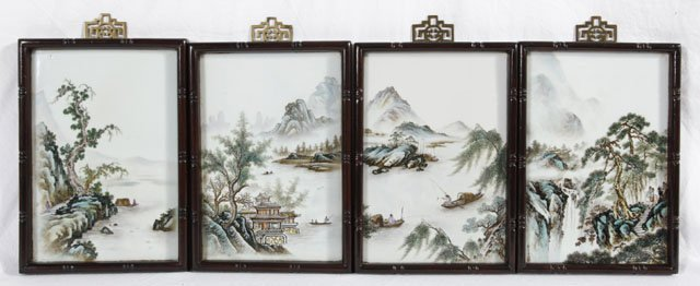1381: Group of Four Chinese Painted Porcelain Plaques,