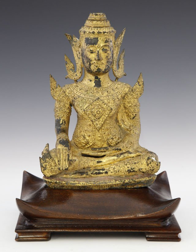 1434: Large Gilt Bronze Seated Buddha, 19th c., on a cu