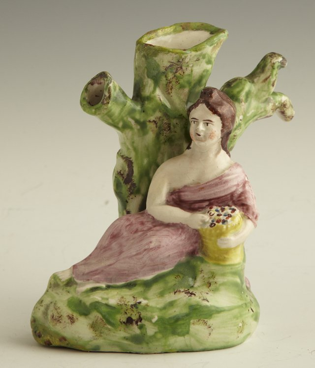 2: Staffordshire Spill Vase, mid 19th c., with a seated