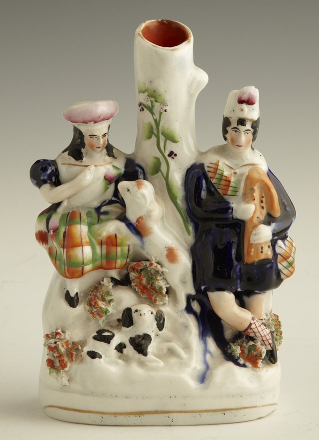 4: Staffordshire Spill vase, c. 1850, with a Scottish c