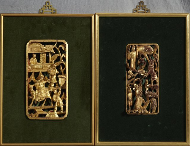 13: Pair of Chinese Carved Pierced Gilt Wood Panels, 19