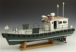 132: Carved Wooden Model Louisiana Fishing Supply Boat,