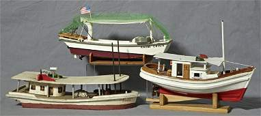 137: Group of Three Carved Wooden Model Boats, 20th c.,