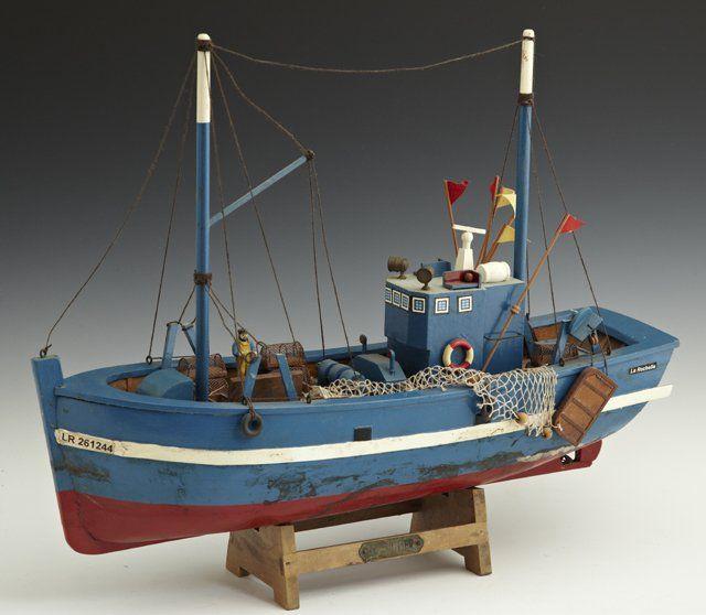 "Carved Wooden Model Lobster Boat, 20th c., ""La Roc"