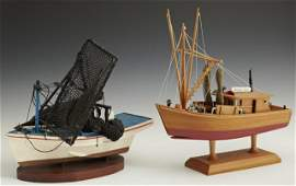 139: Two Carved Wooden Model Shrimp Boats, 20th c., one