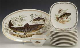 403 French Fourteen Piece Ceramic Seafood Set early 2