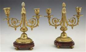 519: Pair of French Gilt Bronze and Marble Two Light Ca